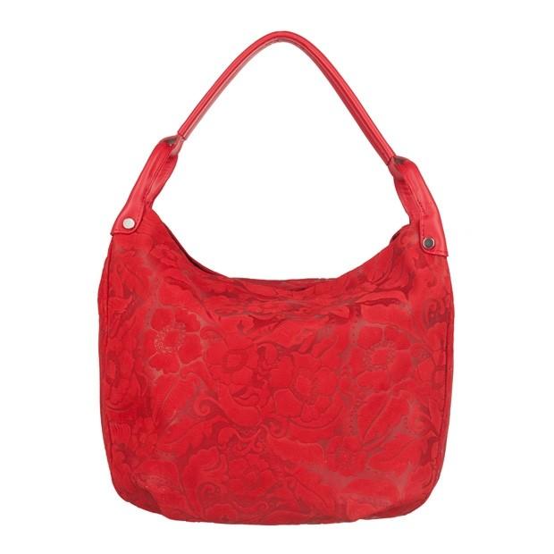 Włoska torebka worek tłoczony wzór w kwiaty czerwona (4097)