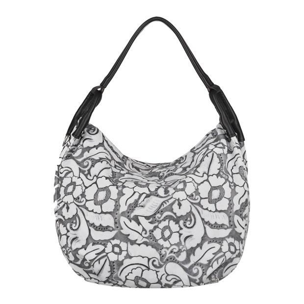 Włoska torebka worek tłoczony wzór w kwiaty biała+czarny (4098)