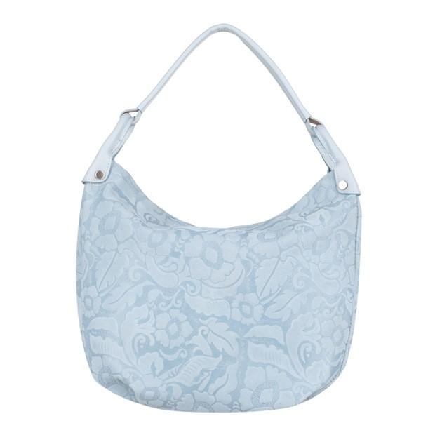 Włoska torebka worek tłoczony wzór w kwiaty błękitna (4099)