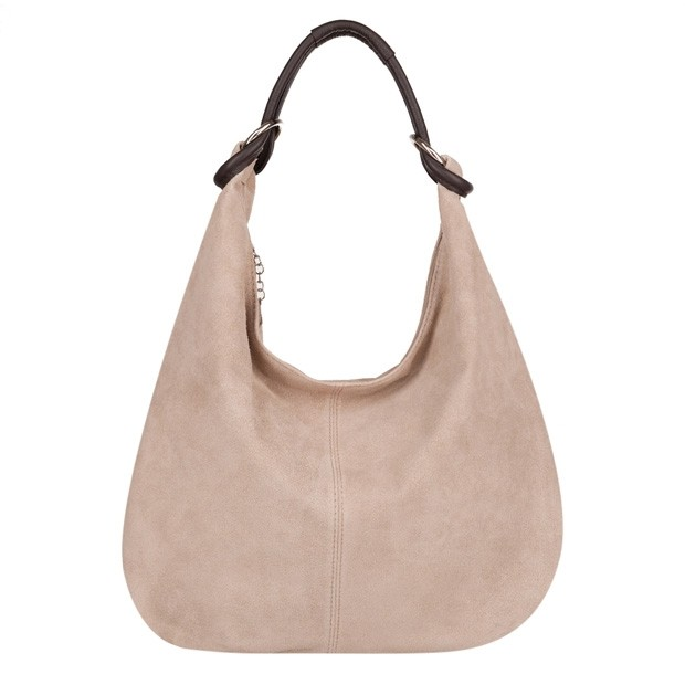 Włoska torebka worek zamsz naturalny beżowa (4105)