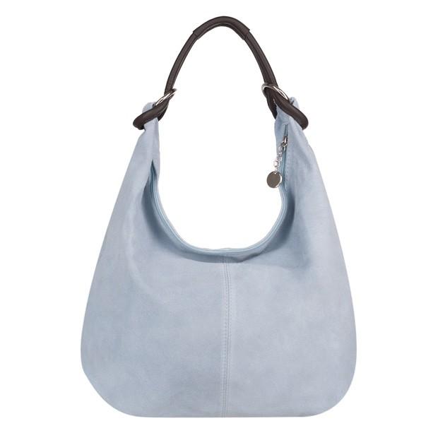 Włoska torebka worek zamsz naturalny błękitna (4106)
