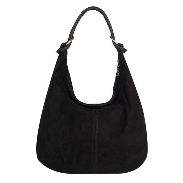 Włoska torebka worek zamsz naturalny czarna (4107)