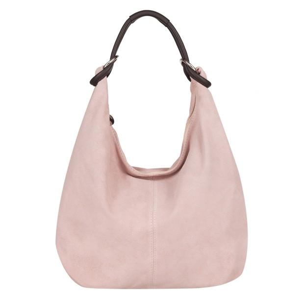 Włoska torebka worek zamsz naturalny różowa (4109)