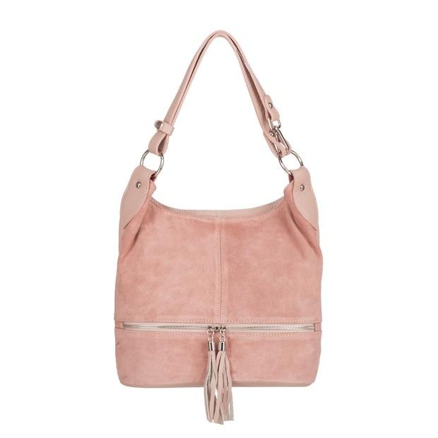 Włoska zamszowa torebka worek z zamkami i frędzlami różowa (4121)