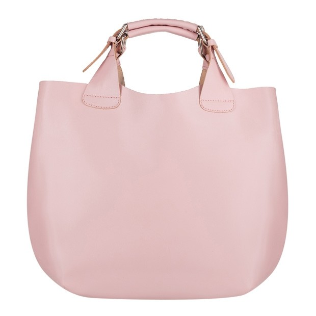 Stylowa skórzana torebka typu shopper bag A4 różowa (4124)