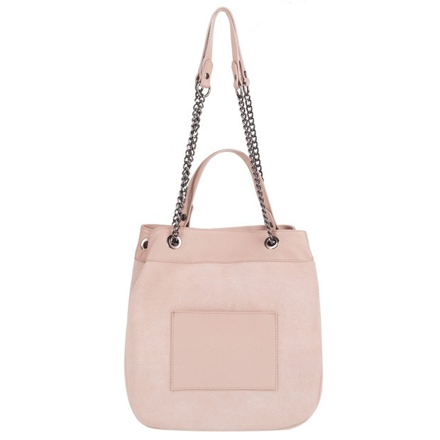 Włoska torebka worek zamsz+skóra różowa (4126)