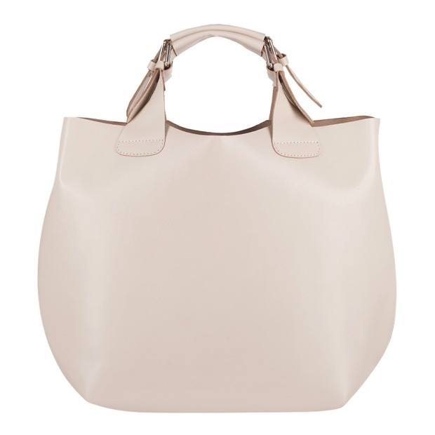 Stylowa skórzana torebka typu shopper bag A4 kremowa (4129)