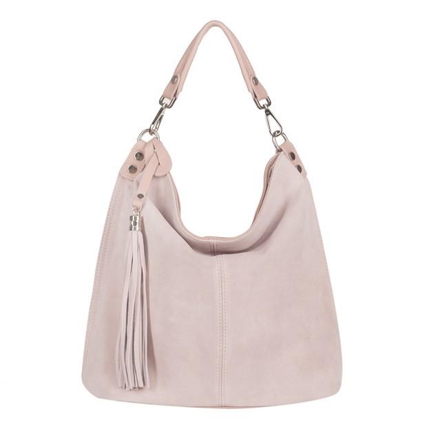Włoska torebka worek z frędzlami miękka skóra+zamsz naturalny różowa (4146)
