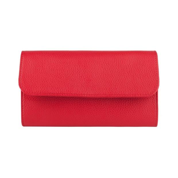 Włoska elegancka skórzana kopertówka czerwona (4154)