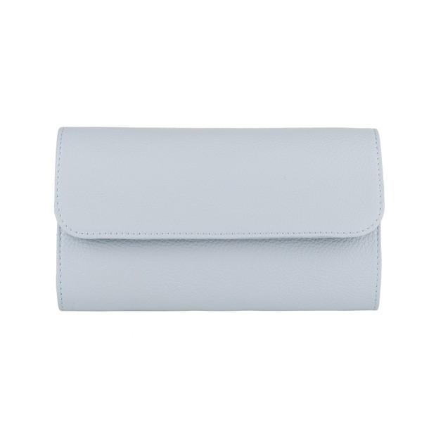 Włoska elegancka skórzana kopertówka błękitna (4155)