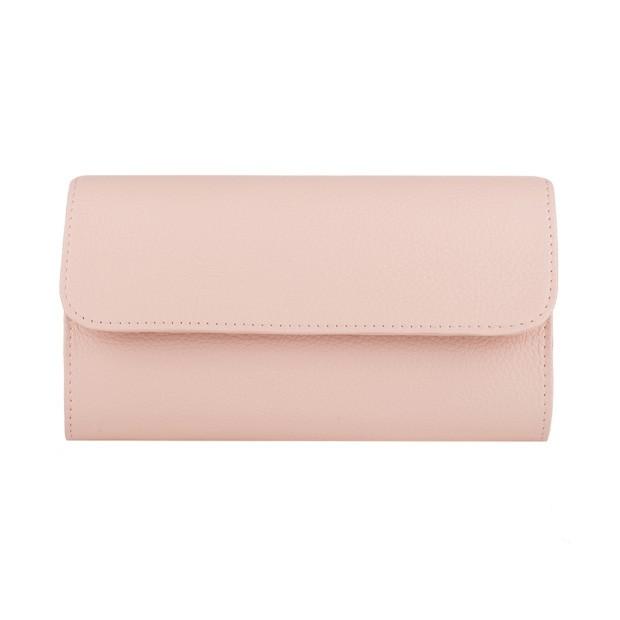 Włoska elegancka skórzana kopertówka różowa (4158)