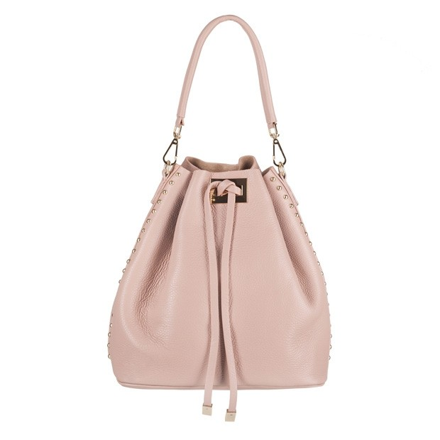 Włoska torebka skórzana worek dżety różowa (4165)