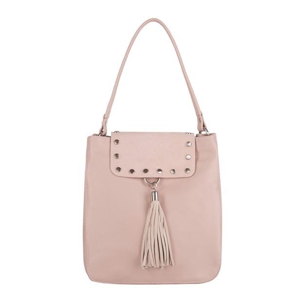 Włoska torebka worek skóra+zamsz z frędzlami różowa (4170)