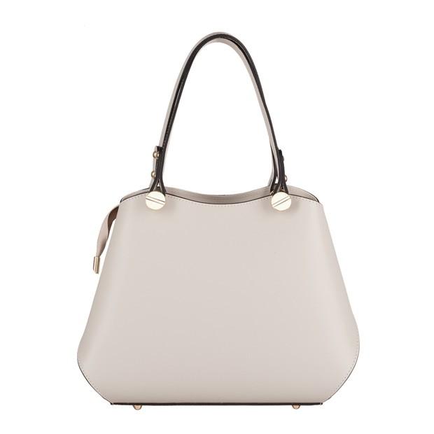 Vera Pelle - Włoska elegancka torebka mały kuferek matowa skóra kremowa (4174)