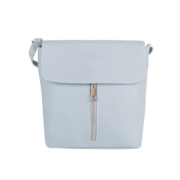 Vera Pelle - mała skórzana torebka listonoszka błękitna (4185)