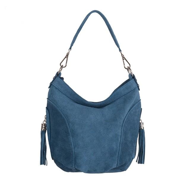 Włoska torebka worek zamsz naturalny niebieska (4186)