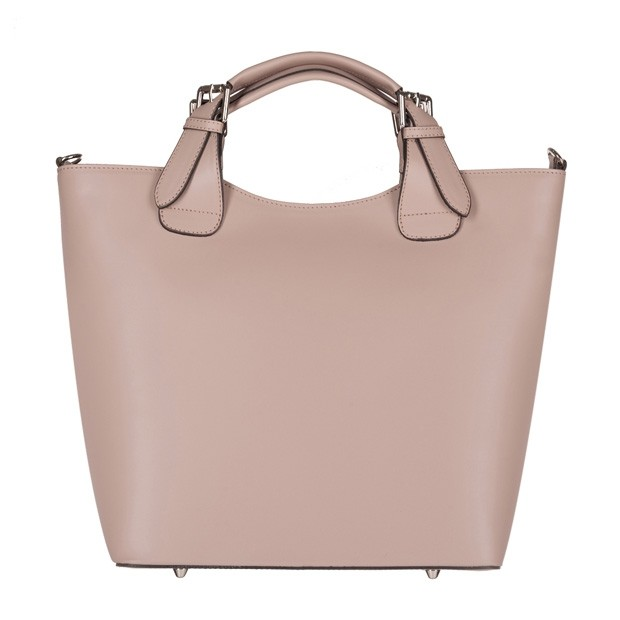 Włoska torebka shopper bag A4 matowa skóra brudny róż (4205)