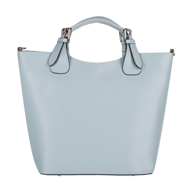 Włoska torebka shopper bag A4 matowa skóra brudny błękitna (4206)