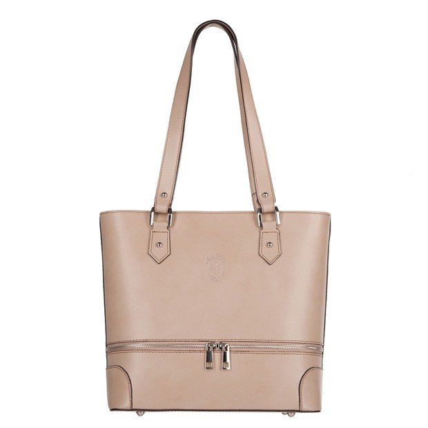Vera Pelle -  Włoska klasyczna torebka skórzana z zamkami beżowa (4207)