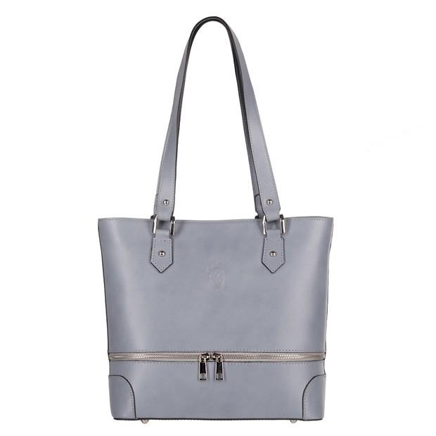 Vera Pelle -  Włoska klasyczna torebka skórzana z zamkami szara (4208)