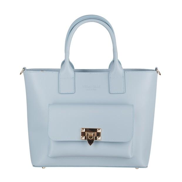 Vera Pelle - Włoska elegancka torebka kuferek z kieszonką matowa skóra błękitna (4225)