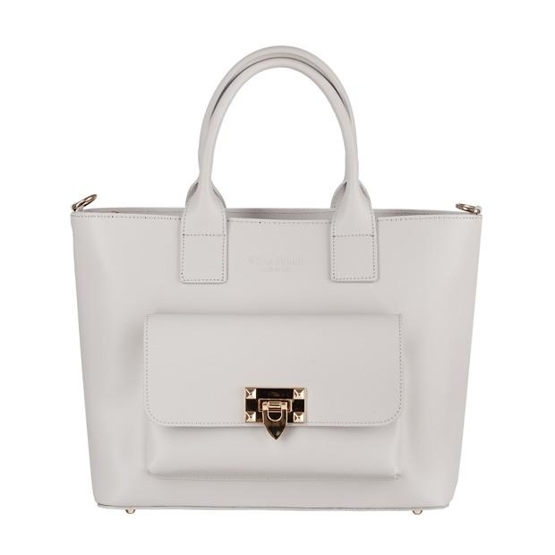 Vera Pelle - Włoska elegancka torebka kuferek z kieszonką matowa skóra szara (4226)