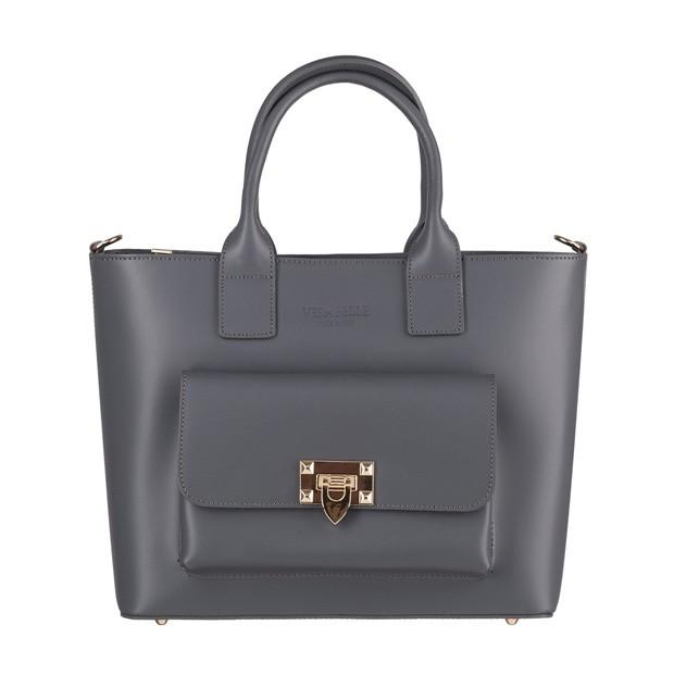 Vera Pelle - Włoska elegancka torebka kuferek z kieszonką matowa skóra grafitowa (4227)
