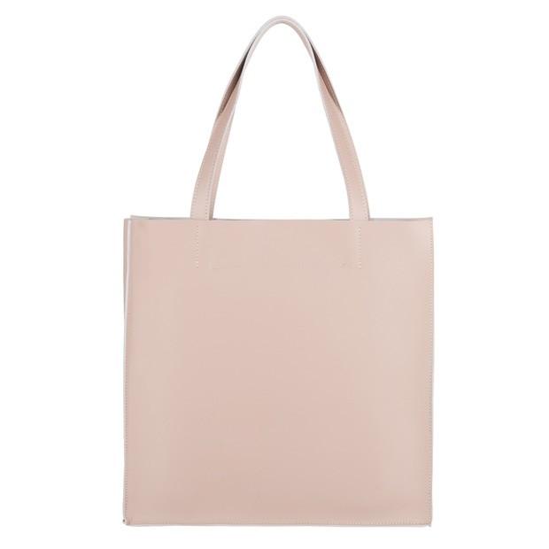 Włoska duża torebka shopper bag matowa skóra brudny róż (4235)