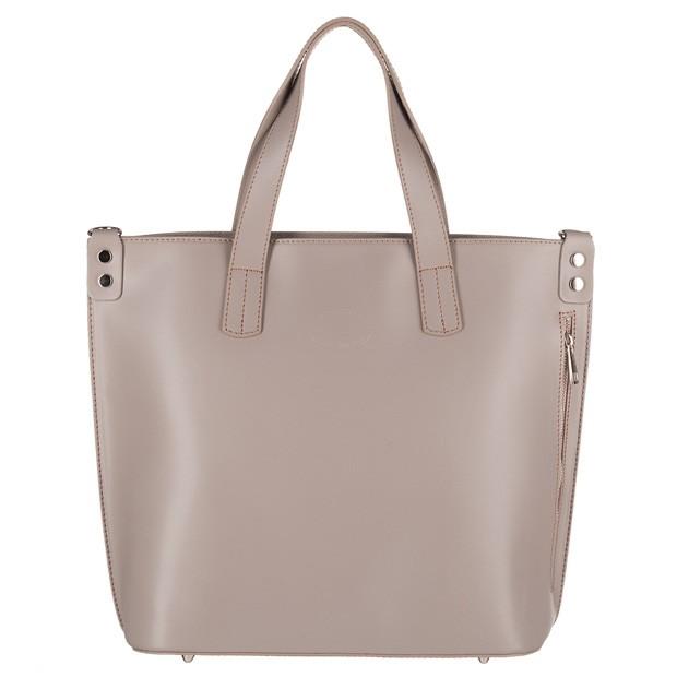 Vera Pelle - Włoska duża klasyczna torebka A4 matowa skóra szara (4240)