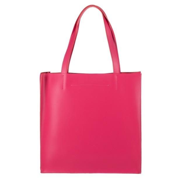 Włoska duża torebka shopper bag matowa skóra różowa (4245)