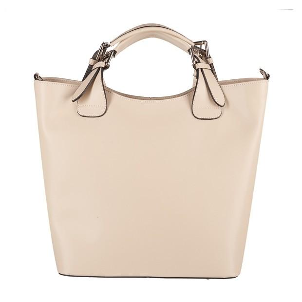 Włoska torebka shopper bag A4 matowa skóra kremowa (4246)