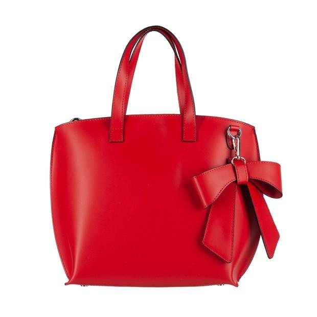 Vera Pelle - Włoska torebka matowa skóra czerwona (4253)