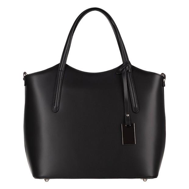 Włoska klasyczna torebka matowa skóra czarna (4260)