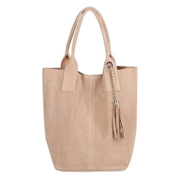 Włoska torebka worek A4 z frędzlami zamsz beżowa (4274)