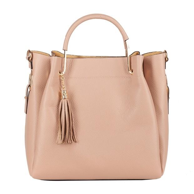 Włoska elegancka torebka kuferek z frędzlami skóra różowa (4291)