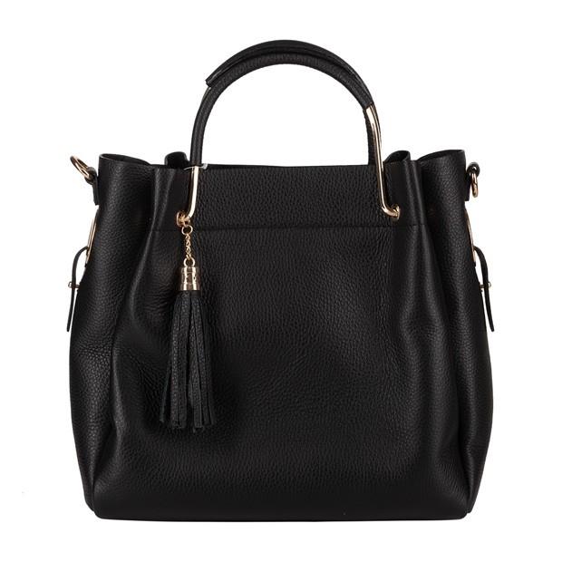 Włoska elegancka torebka kuferek z frędzalmi skóra czarna (4292)