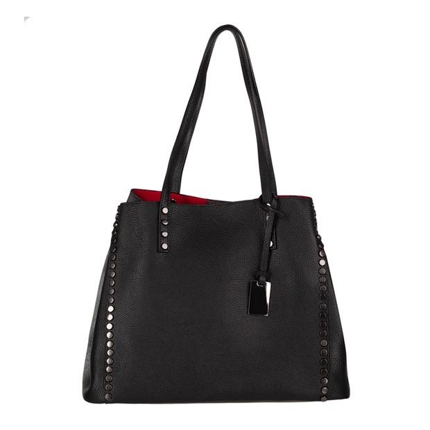 Włoska skórzana elegancka torebka kuferek z dżetami czarna (4297)