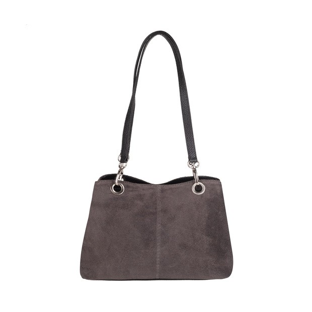 Włoska torebka trzykomorowa zamsz+skóra grafitowa (4311)
