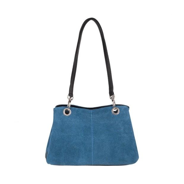 Włoska torebka trzykomorowa zamsz+skóra niebieska (4313)