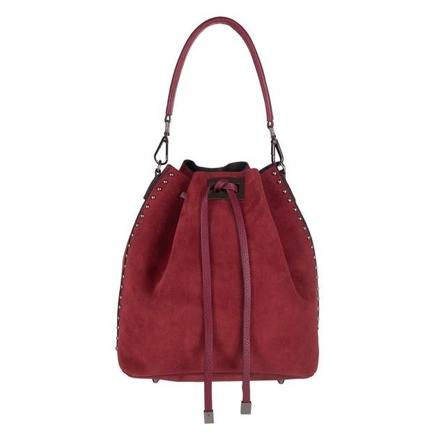 Włoska torebka worek zamsz dżety bordowa (4322)