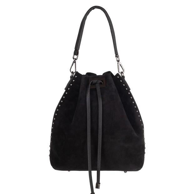 Włoska torebka worek zamsz dżety czarna (4323)