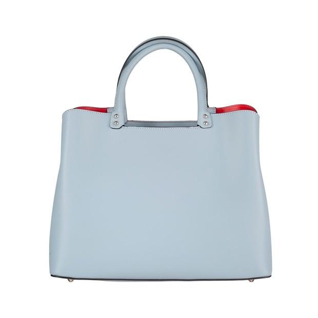 Włoska klasyczna torebka matowa skóra błękitna (4329)