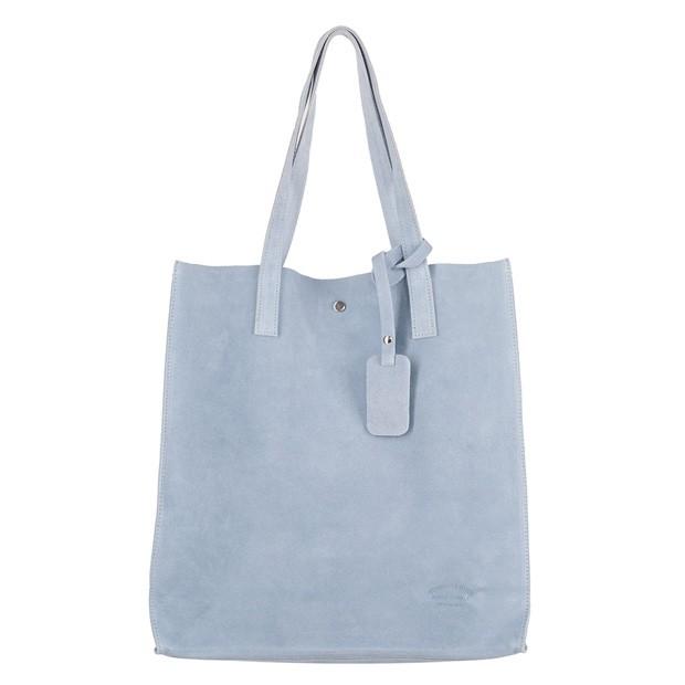 Włoska torebka worek zamsz A4 błękitna (4330)