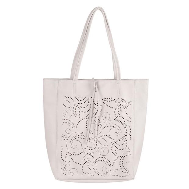 Włoska torebka skórzana worek A4 na zamek z ażurowym wzorem szara (4335)