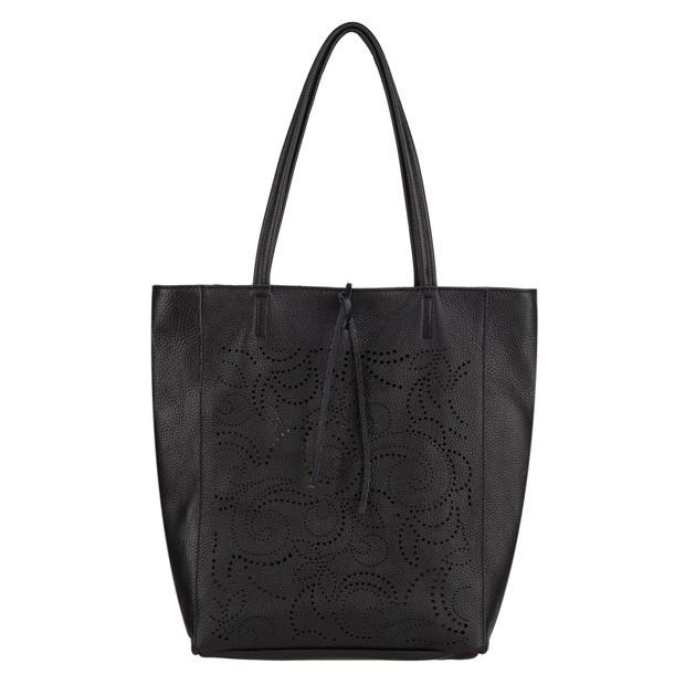 Włoska torebka skórzana worek A4 na zamek z ażurowym wzorem czarna (4336)