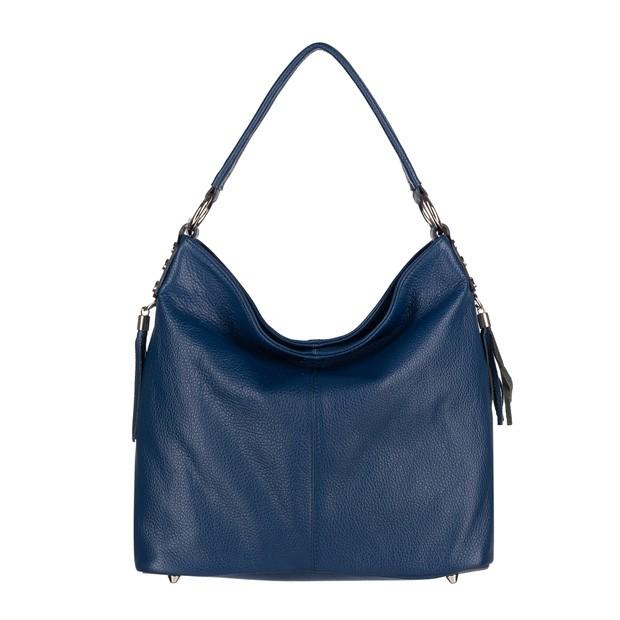 Włoska torebka skórzana worek z frędzlami niebieska (4345)