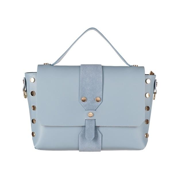 Włoska torebka z dżetami i rączką matowa skóra błękitna (4366)