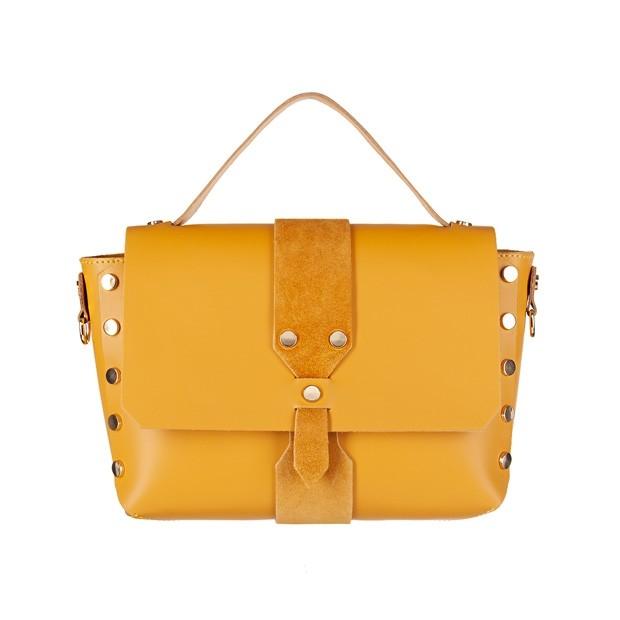 Włoska torebka z dżetami i rączką matowa skóra żółta (4368)
