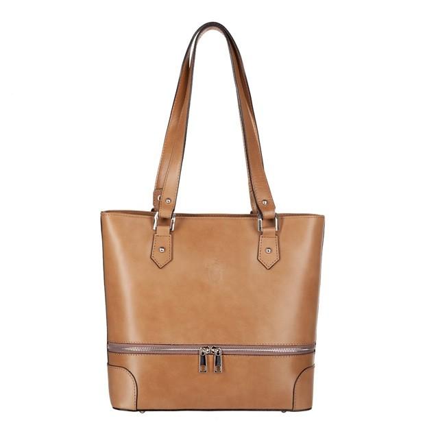 Vera Pelle -  Włoska klasyczna torebka skórzana z zamkami ciemny beż (TS-3148-08)