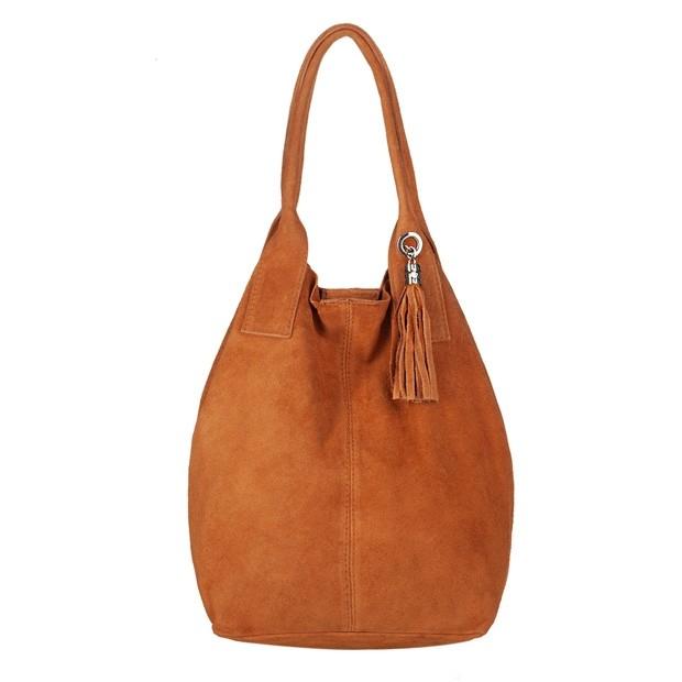 Włoska torebka worek A4 z frędzlami zamsz camel (4403)
